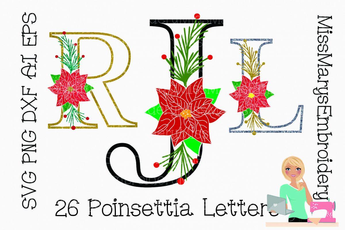 Poinsettia Letters SVG | Poinsettia| Poinsettia Monogram example image 1