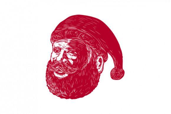 Santa Claus Head Woodcut example image 1