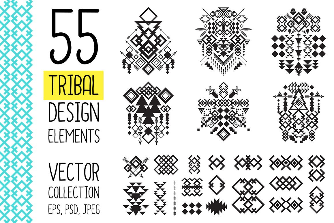 55 Tribal Design Elements Collection example image 1