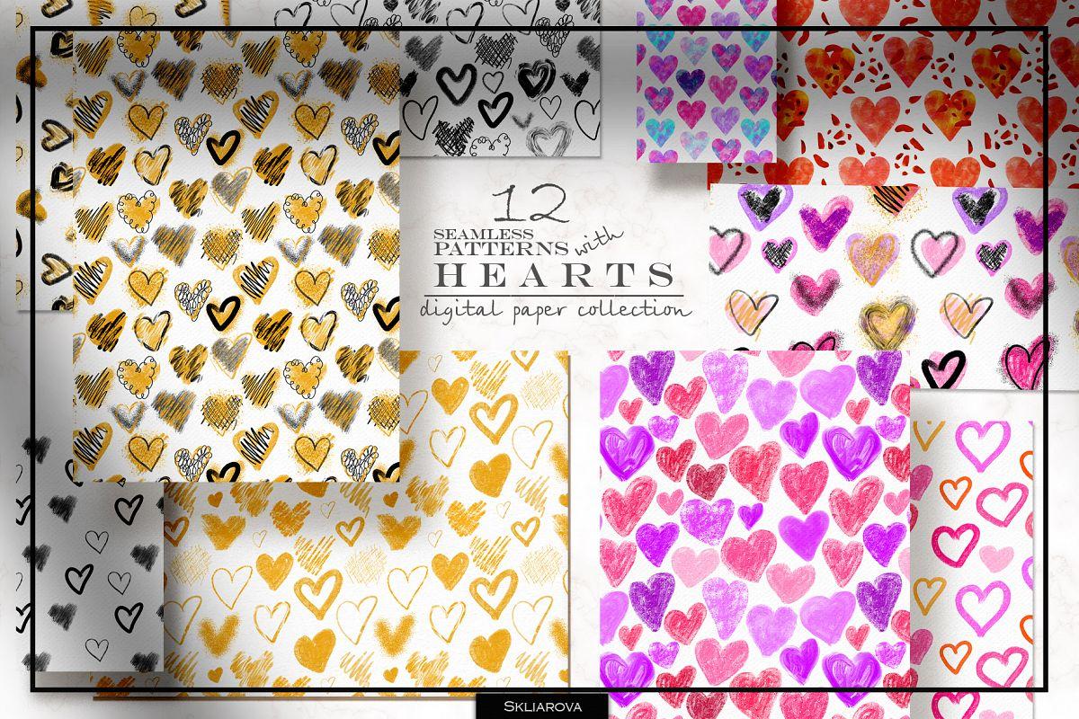Stylish Hearts. 12 patterns example image 1