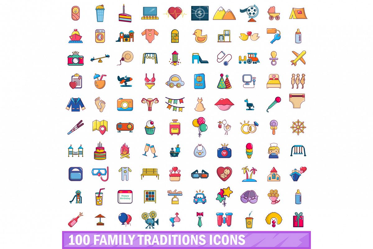 100 family traditions icons set, cartoon style example image 1