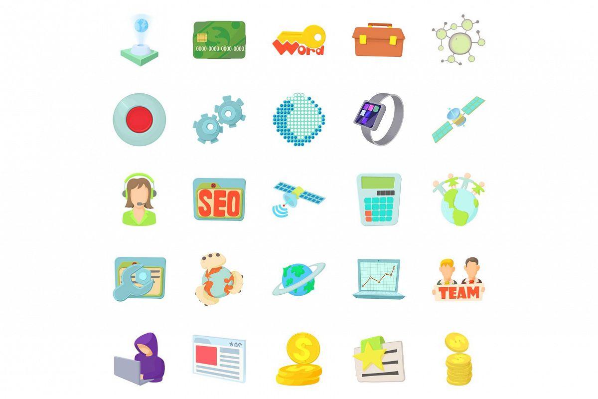 Telecommunications icons set, cartoon style example image 1