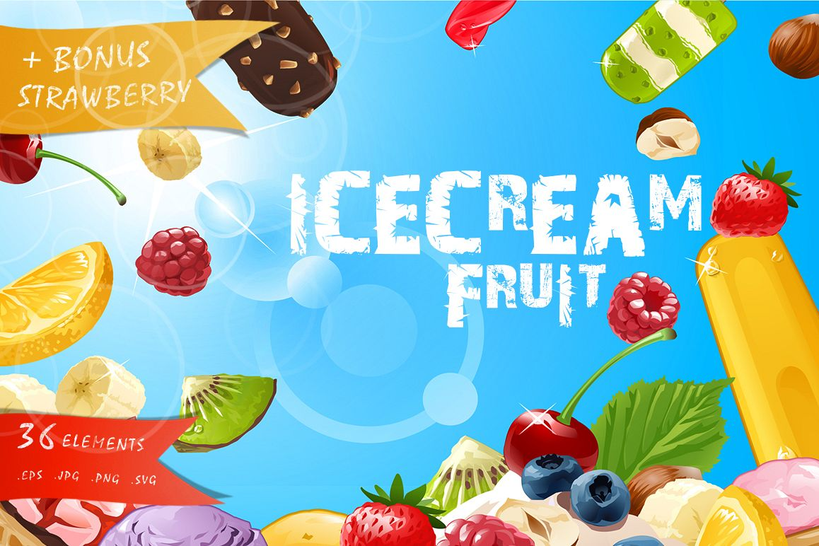 Set of summer ice cream labels. example image 1