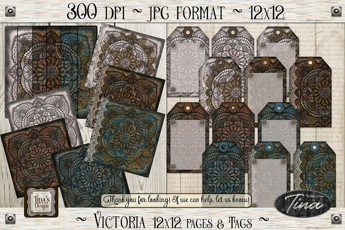 Victoria Steampunk Lace Doily Paper/Tag Collection 102618 example image 1