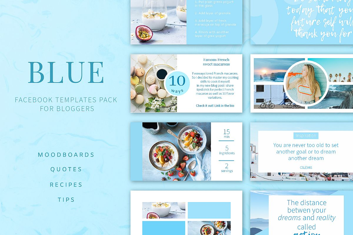 Blue | Facebook post templates pack