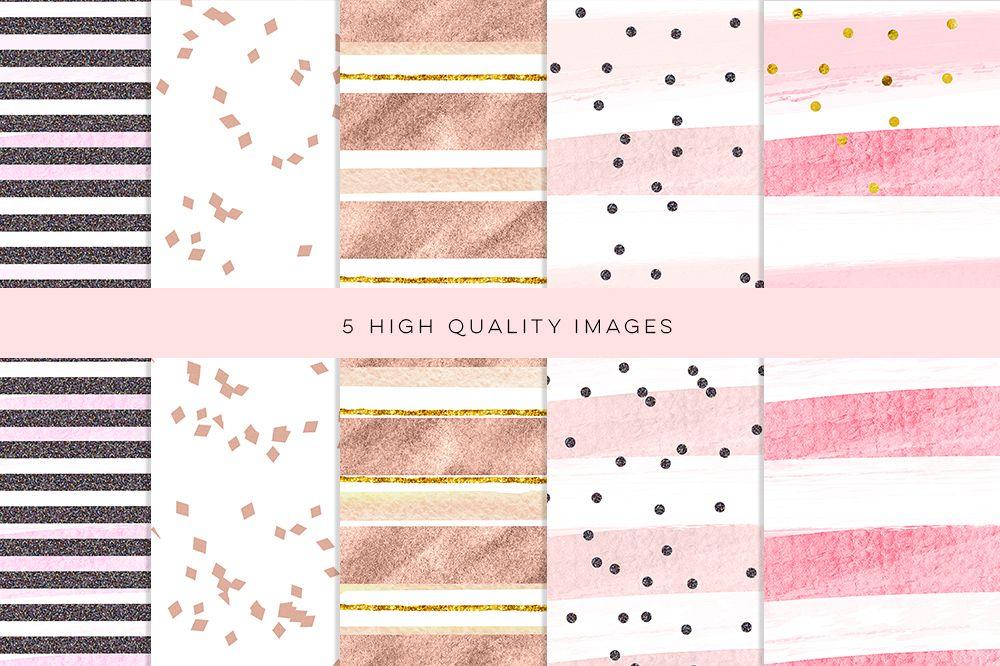 Rose Gold Backgrounds, Rose Gold Digital Paper, wedding card paper, Rose Gold Wedding, pink foil digital, metallic gold paper, patterns example image 1