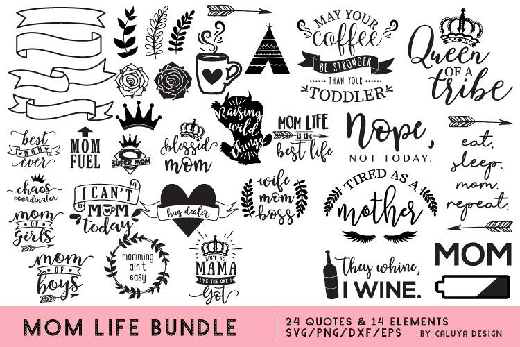 Mom Life SVG Cut File Bundle example image 1