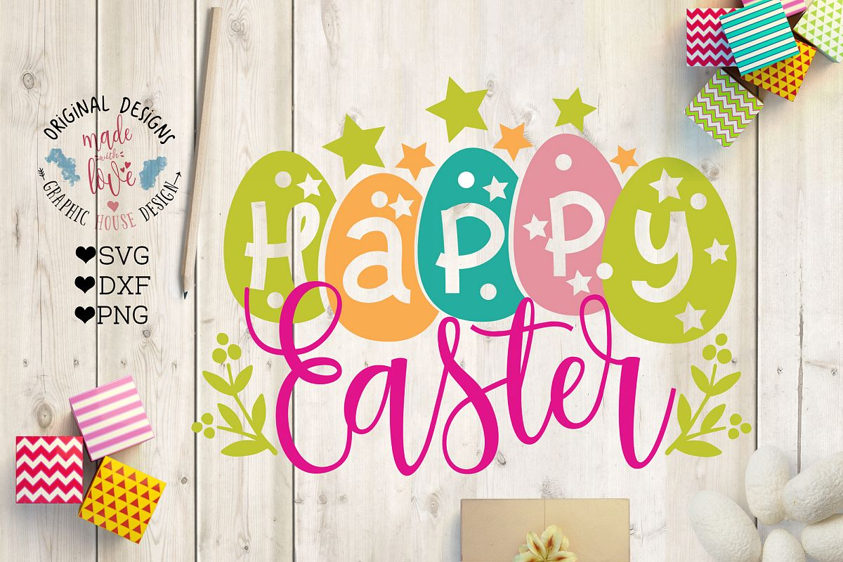 Happy Easter Cut File SVG, DXF, PNG example image 1