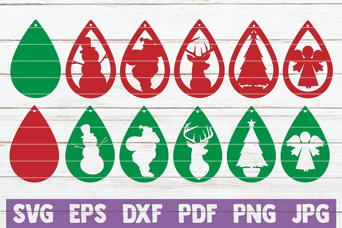 Christmas Earrings Bundle, SVG Cut Files example image 1