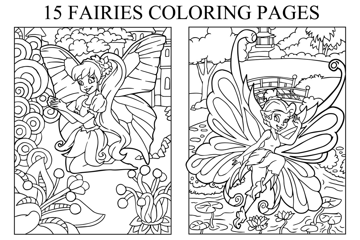 Coloring Pages For Kids - 15 Fairies Pages