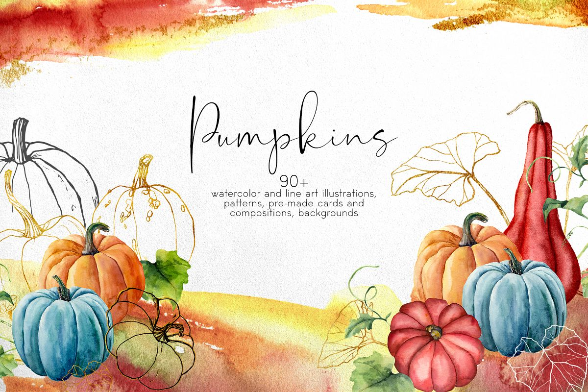 Pumpkins. Watercolor collection example image 1