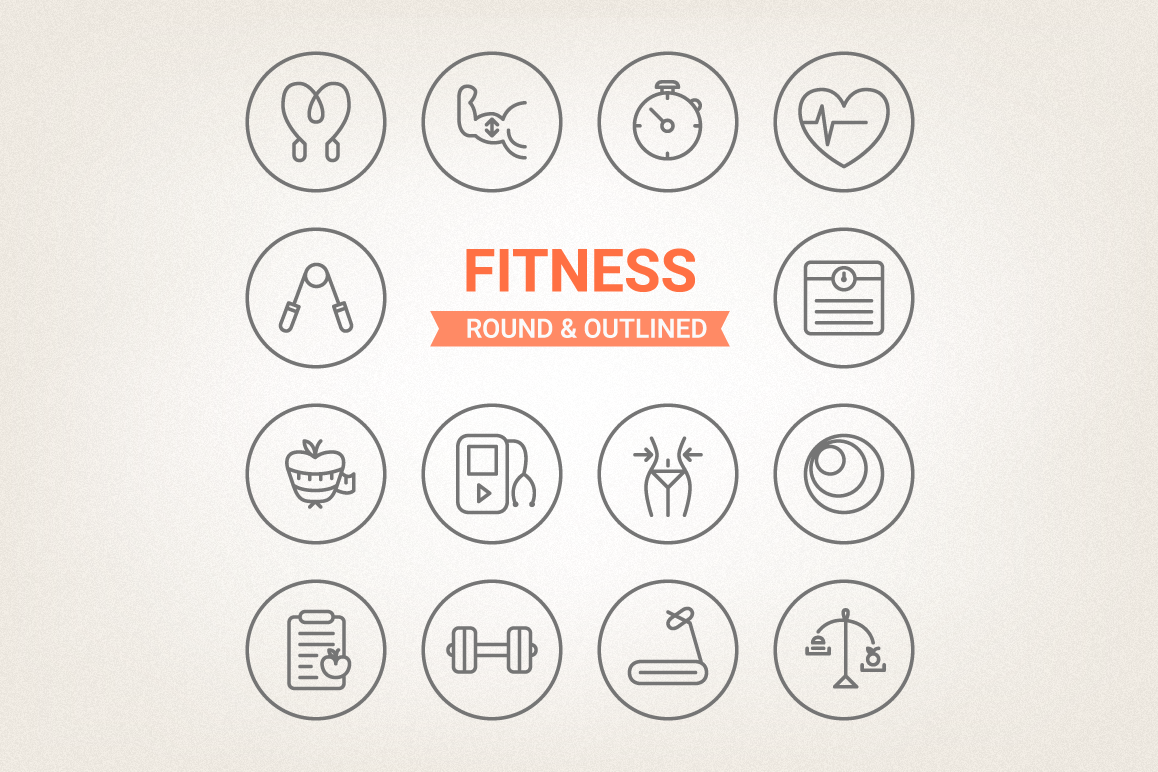 Circle Fitness Icons example image 1