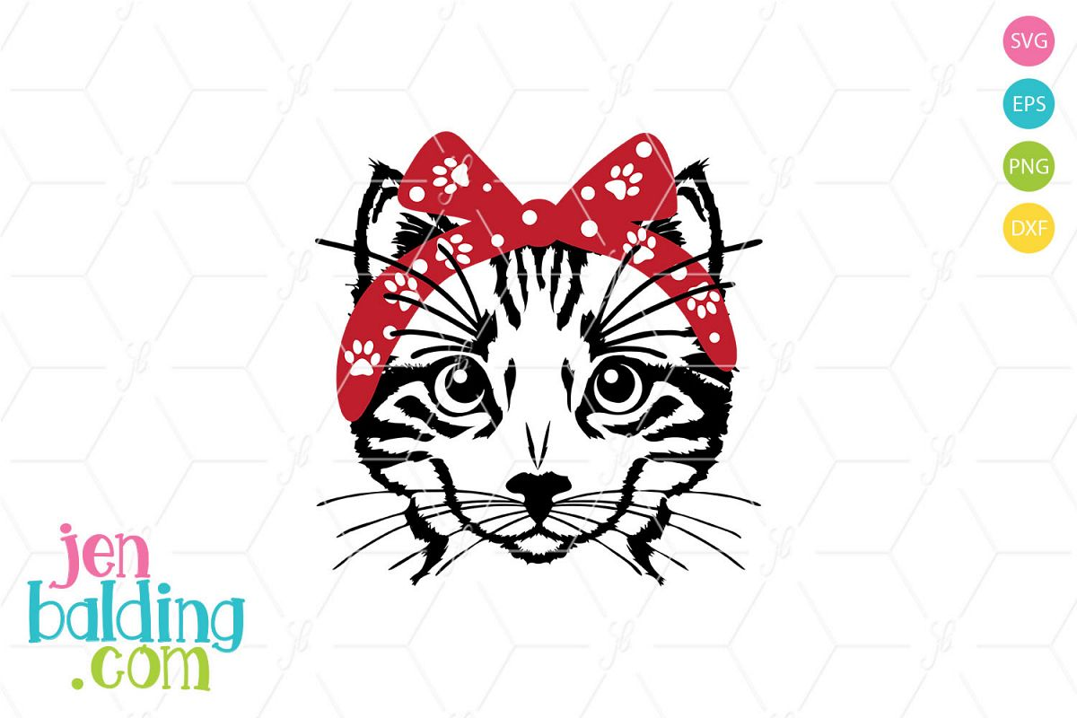 Cat With Bandana SVG example image 1