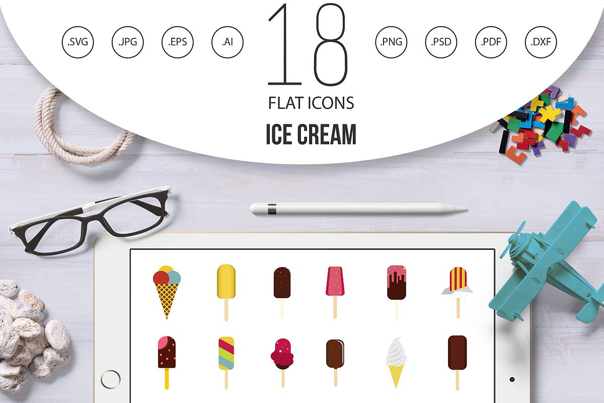 Ice cream icon set, flat style example image 1