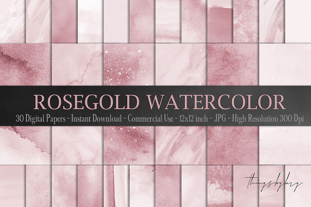 30 Ombre Rosegold Painted Brush Watercolor Digital Papers example image 1