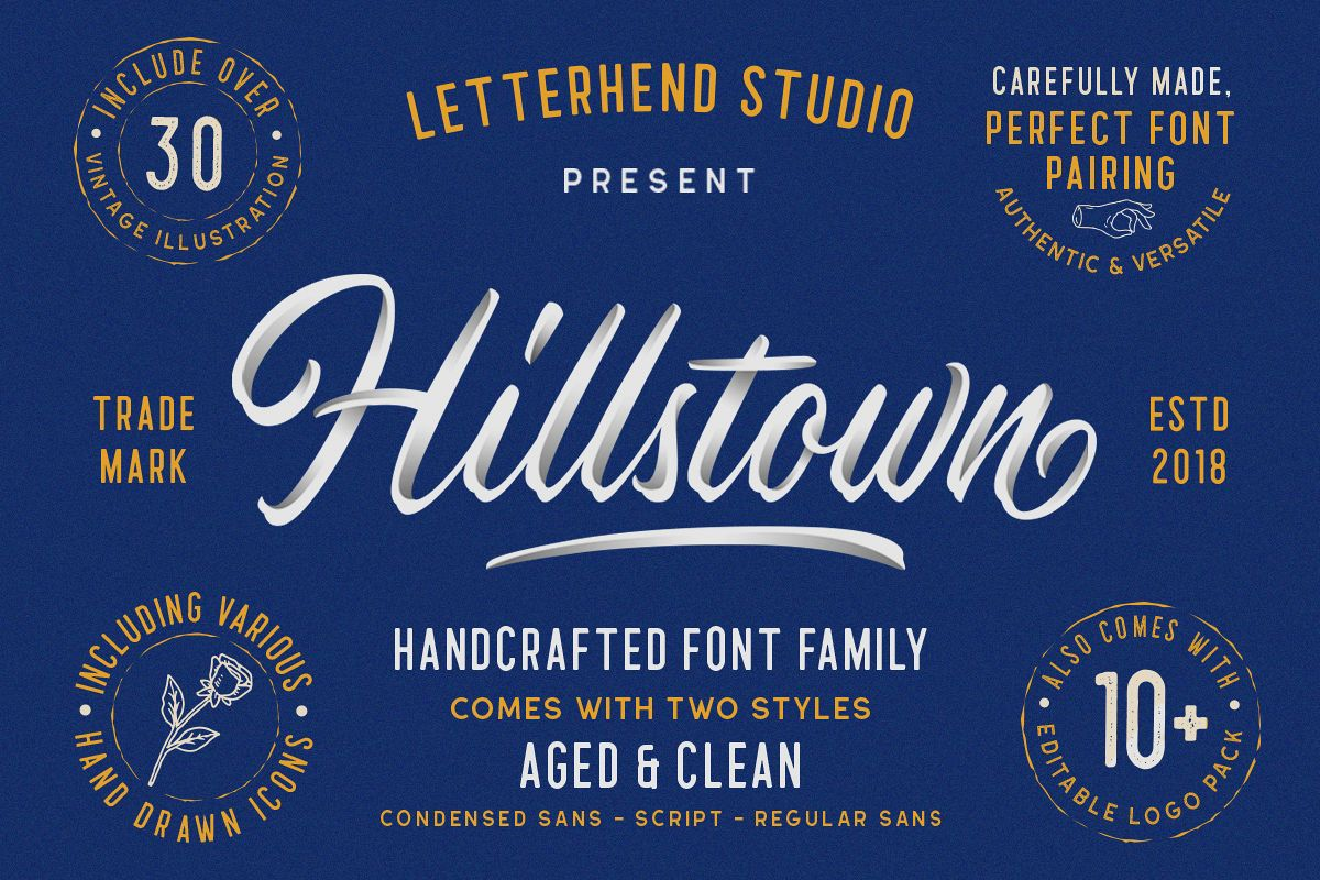 Hillstown Font Collection and EXTRA example image 1