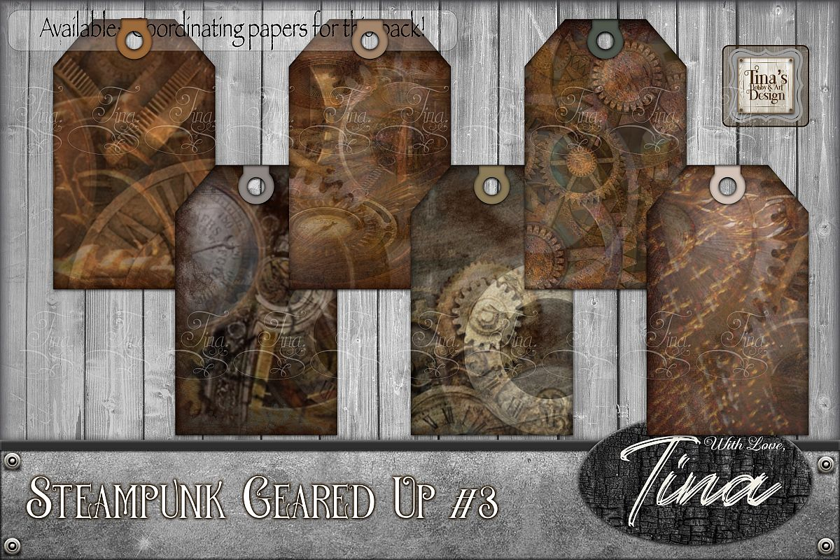 Steampunk Geared Up Gears Clocks Grunge Tags 092918GU3a example image 1