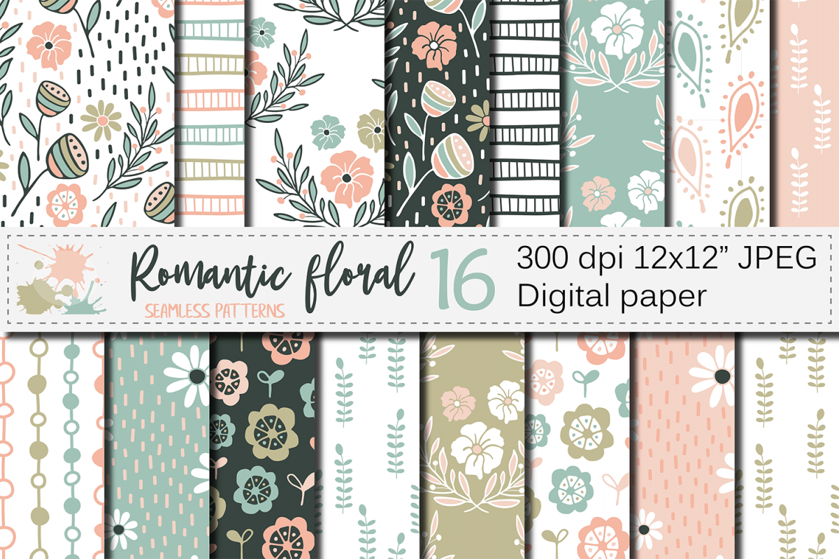 Romantic Pastel Floral Seamless Digital Paper Patterns
