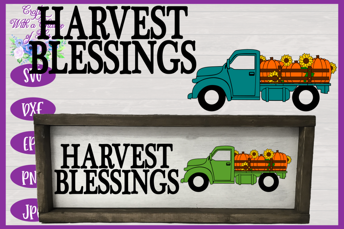 Harvest Blessings SVG | Pumpkin Truck SVG | Farm Truck SVG example image 1
