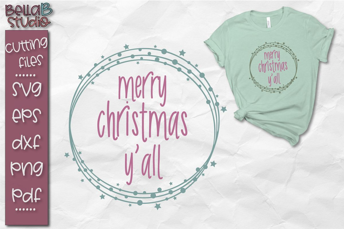 Merry Christmas Y'all SVG, Christmas Cut file example image 1