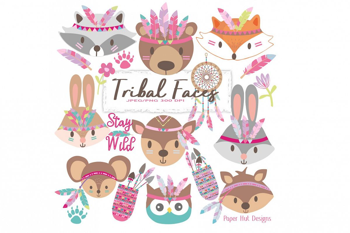 Girls Tribal Animals Faces Clipart example image 1