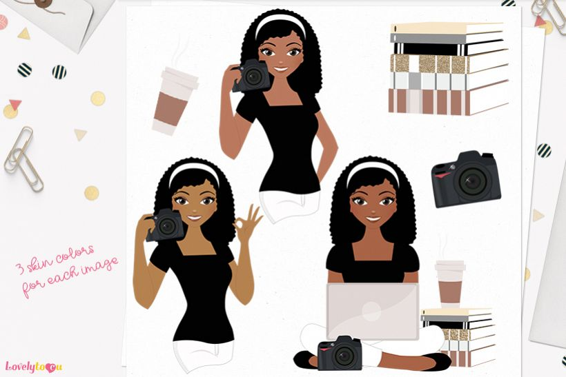 Woman photographer character clip art L196 Nelly example image 1