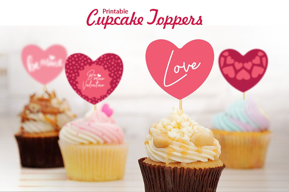 graphic relating to Printable Cupcake Toppers named Valentines Printable Cupcake Toppers