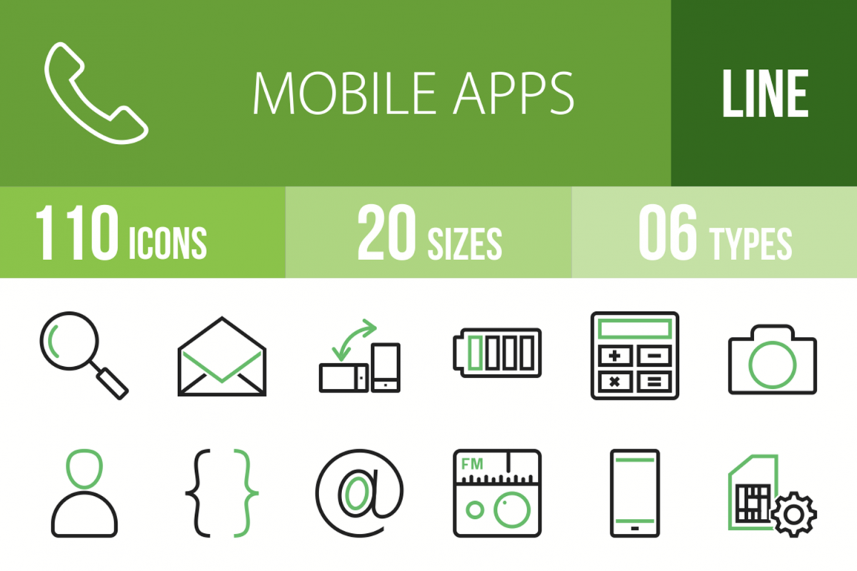 110 Mobile Apps Line Green & Black Icons example image 1