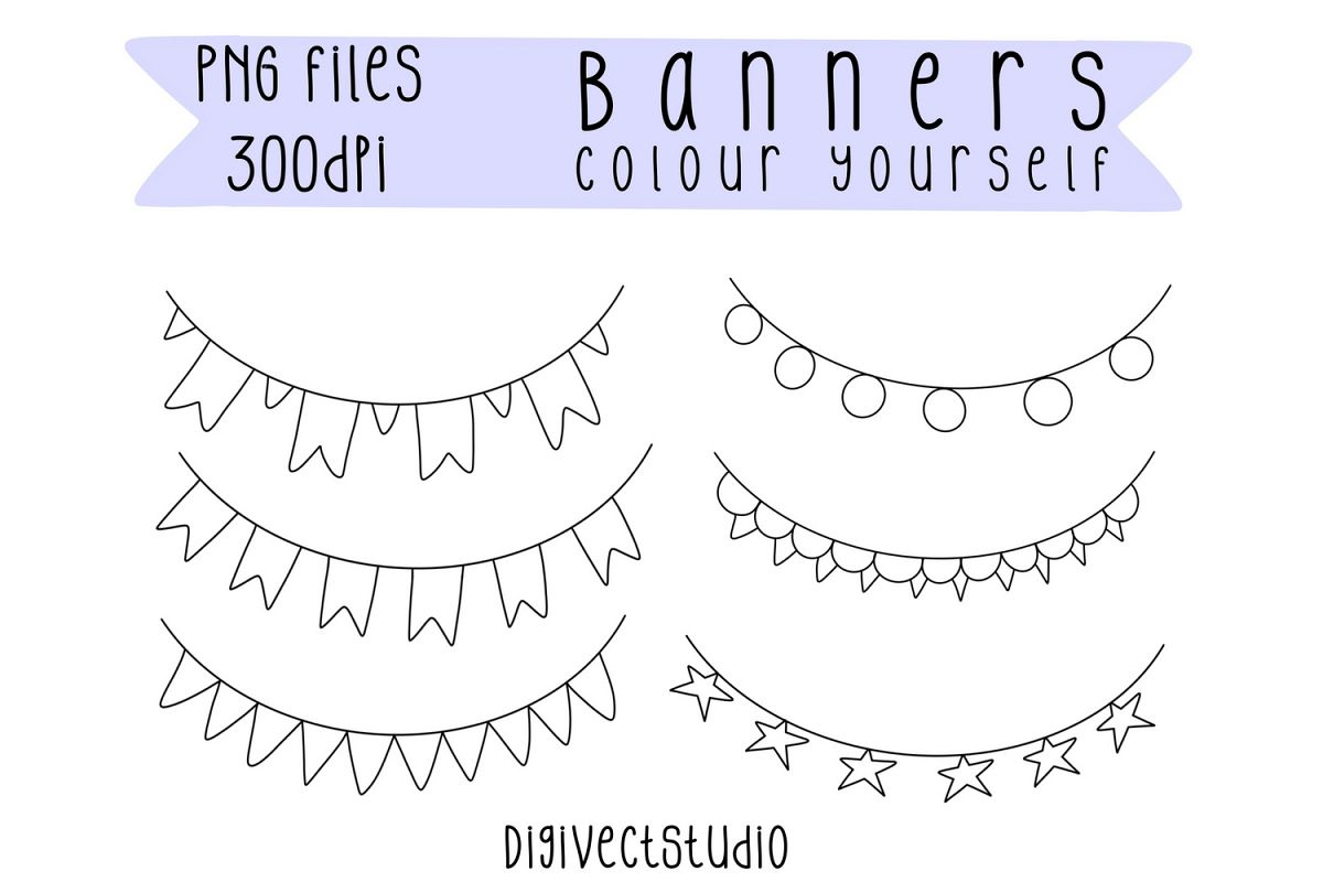 Banner Elements, Bunting Clipart, Bunting Banner Clip Art example image 1