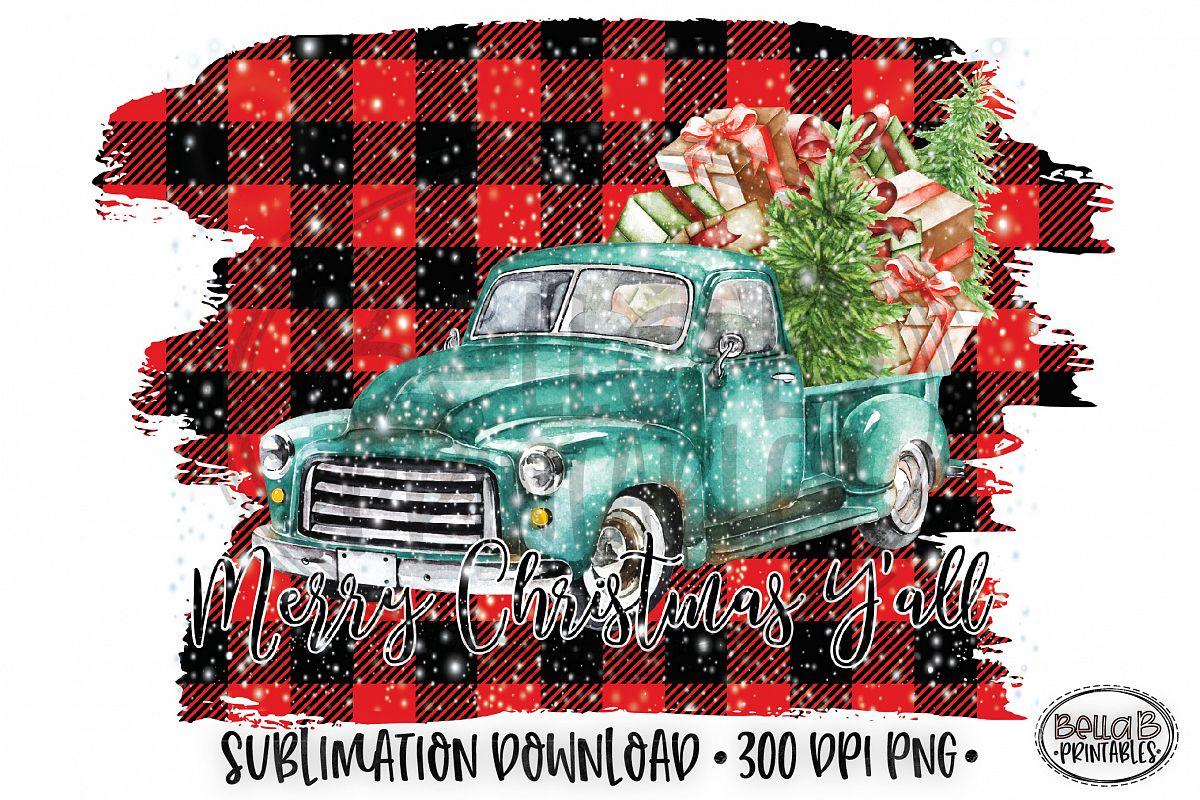 Christmas Sublimation Design, Christmas Truck Sublimation example image 1