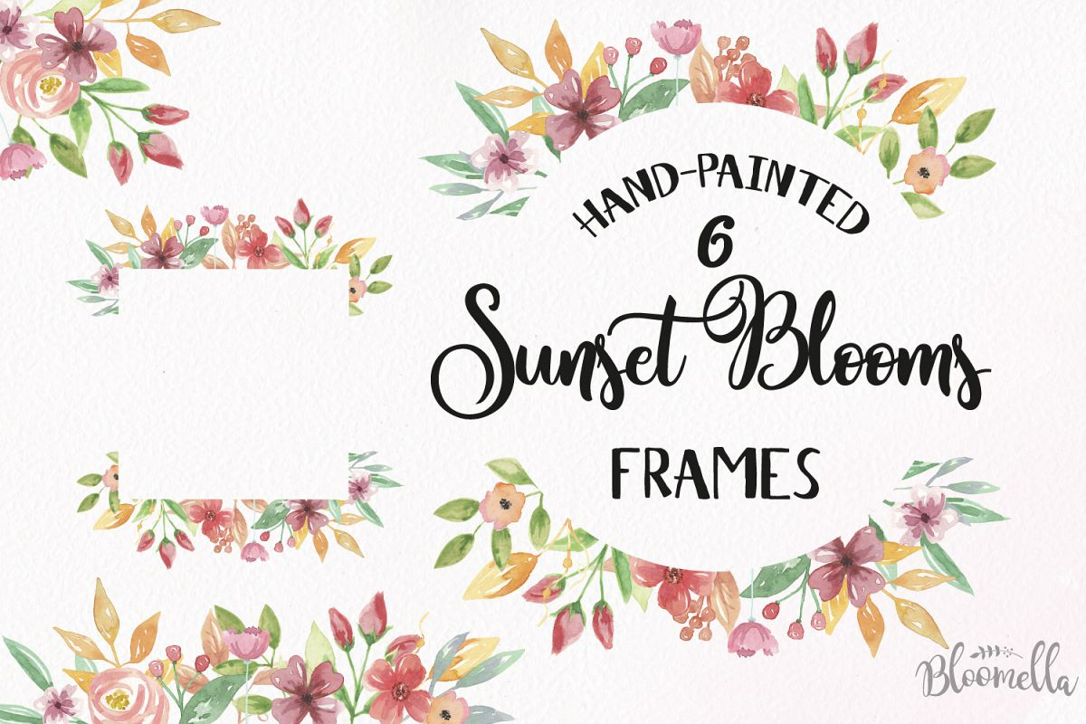 Sunset Blooms Frames Watercolor Red Pretty Clipart Border Yellow