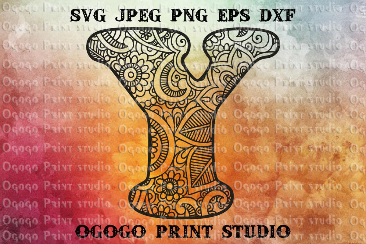 Alphabet Letter SVG, Initial svg, Zentangle SVG, Mandala svg example image 1