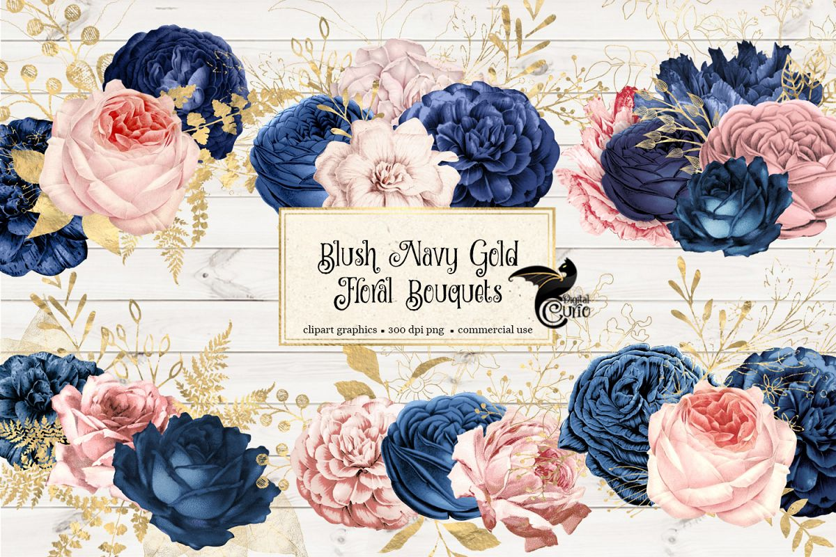Blush Navy and Gold Floral Clipart (217170 ...