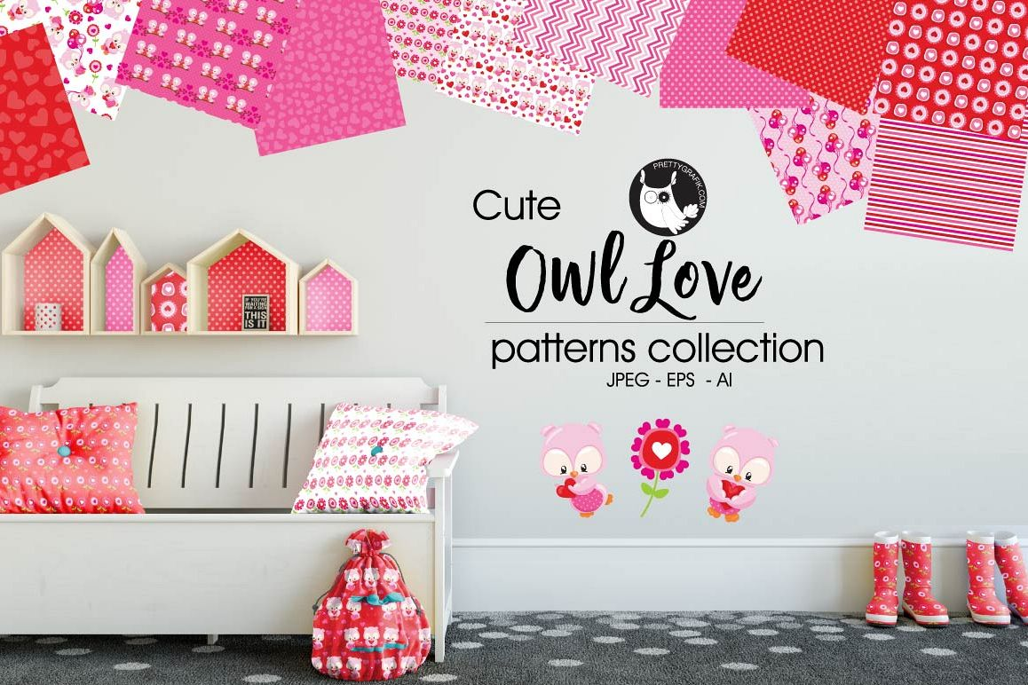 OWL-LOVE , digital papers example image 1