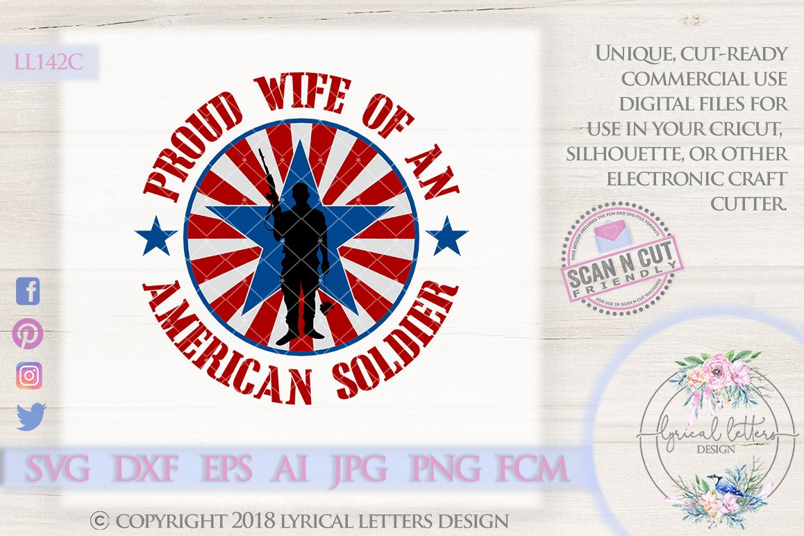 Proud Wife of a Soldier Military SVG Cut File LL142 C example image 1
