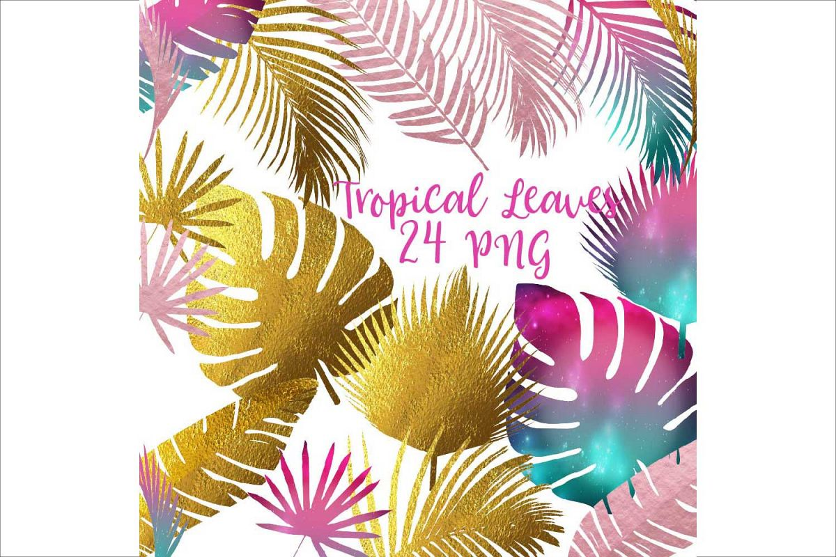 Tropical Leaves Silhouettes Clipart example image 1