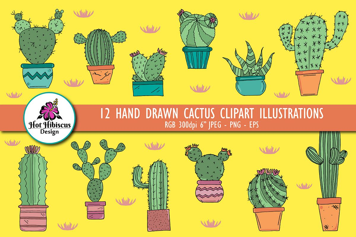Hand Drawn Cactus Clipart Illustrations Pack PNG JPEG EPS example image 1