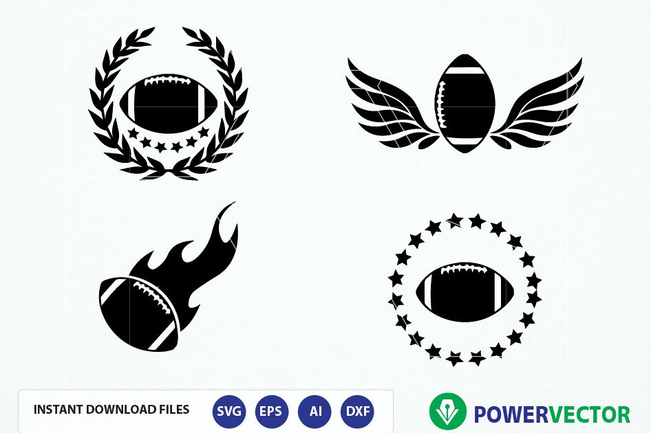 Football Team Logo Vector. Football svg, dxf, png, eps. Football with Flame, Wings, Laurel Wreath Clipart example image 1