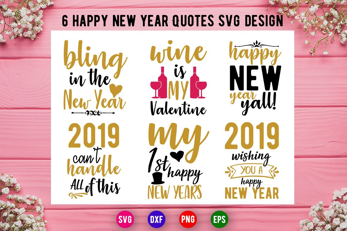 6 Happy New Year And Valentine Day Svg Design Bundle