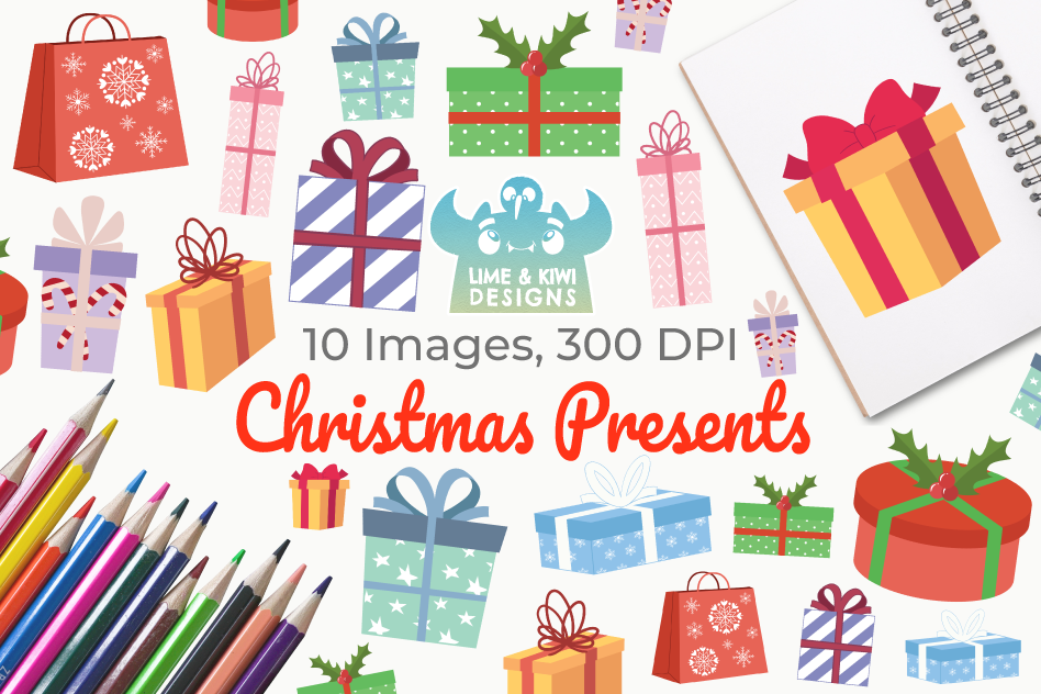 Christmas Presents Clipart.Christmas Presents Clipart Instant Download Vector Art
