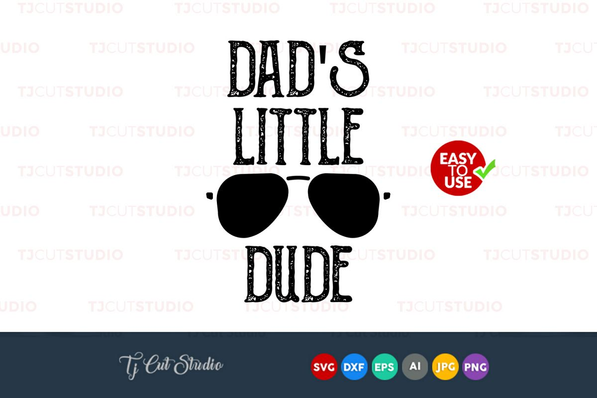 Dad's little dude svg, fathers day svg, Files for Silhouette Cameo or Cricut, Commercial & Personal Use. example image 1