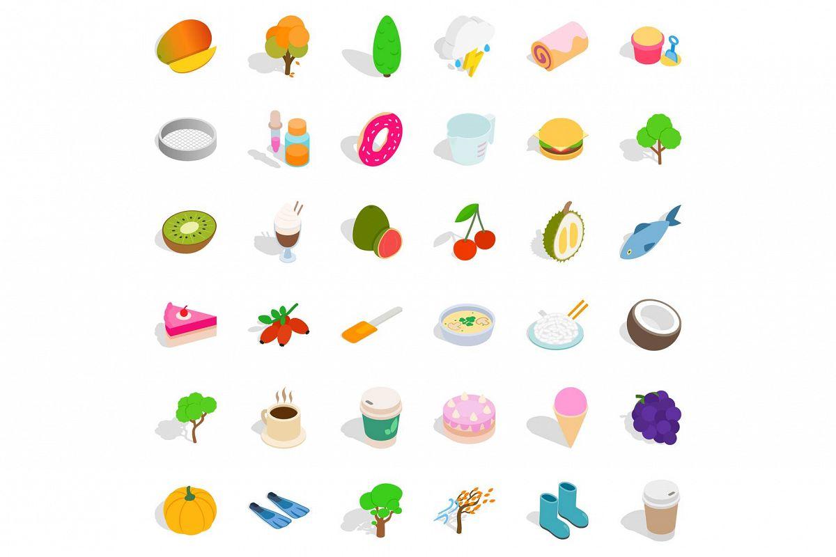 Vegan food icons set, isometric style
