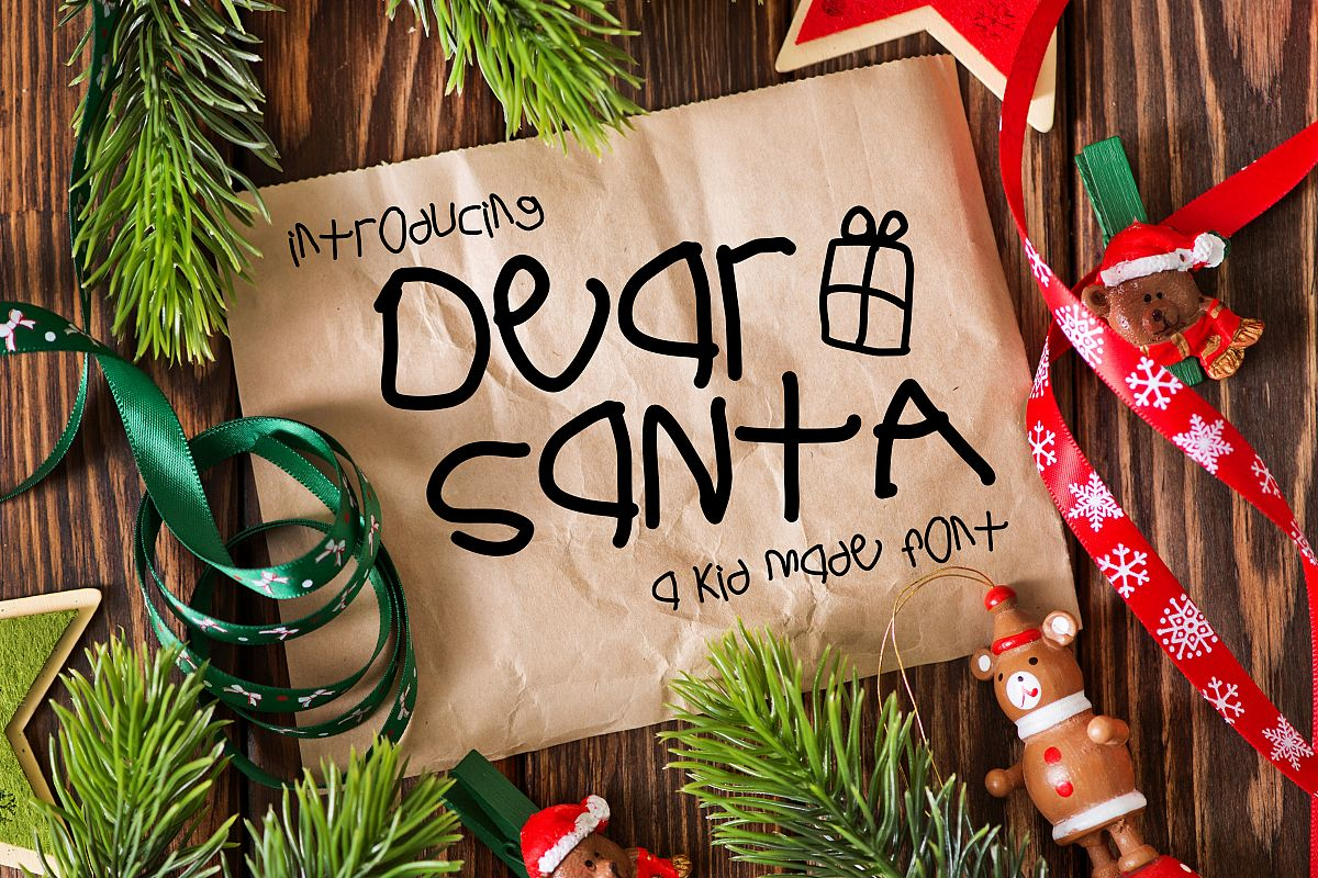 Dear Santa a Kid Made Font example image 1