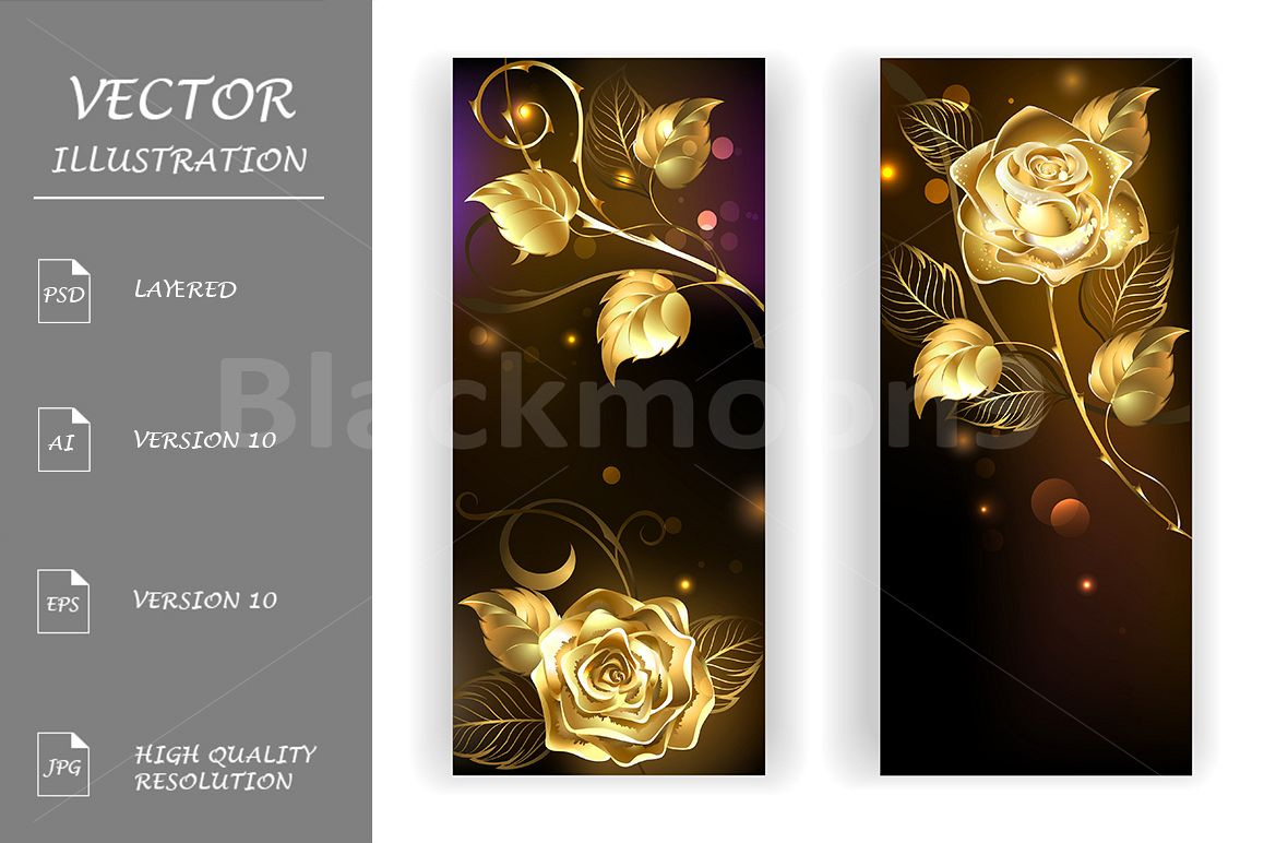 Two Banners with Gold Roses example image 1