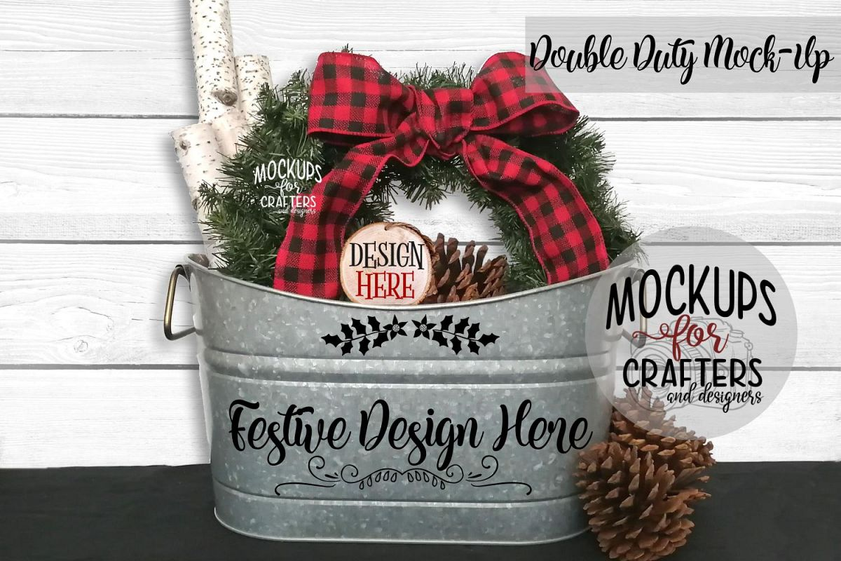 Christmas Double Duty Mock-Up Planter & Wood Ornament example image 1