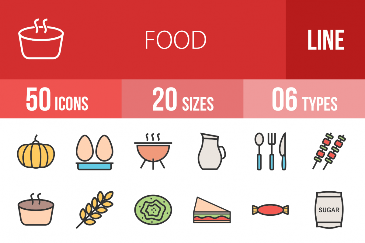 50 Food Linear Multicolor Icons example image 1
