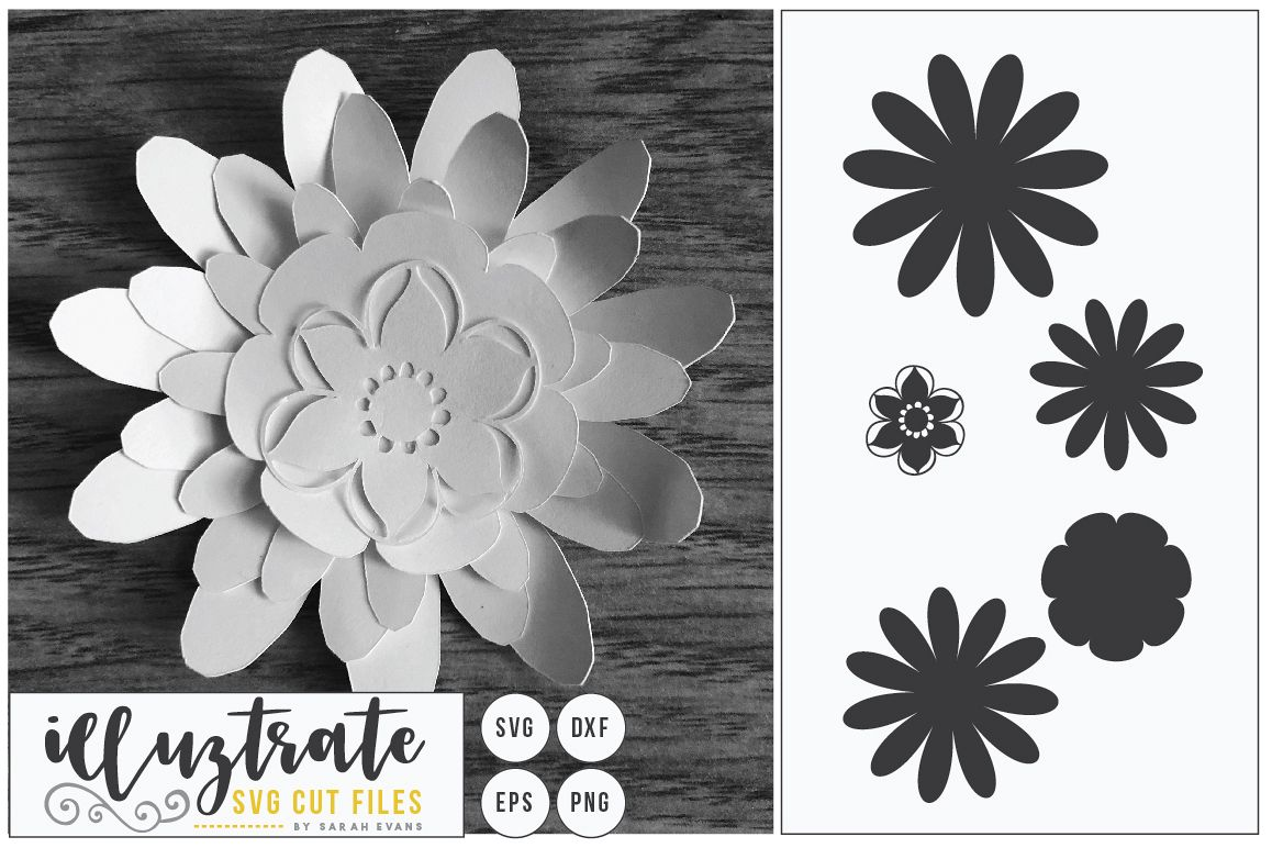Paper Cut Flower, 3D Flower SVG Cut, Paper Flower Design example image 1