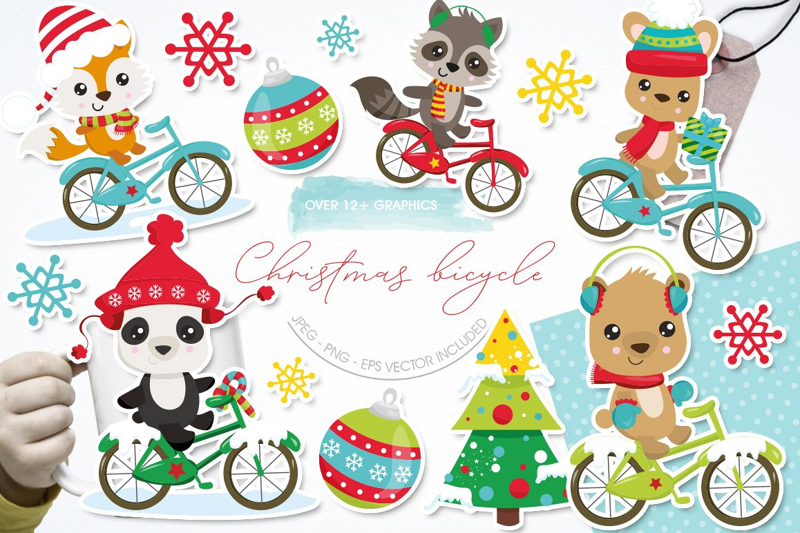 Christmas Woodland bikes graphics and illustrations example image 1