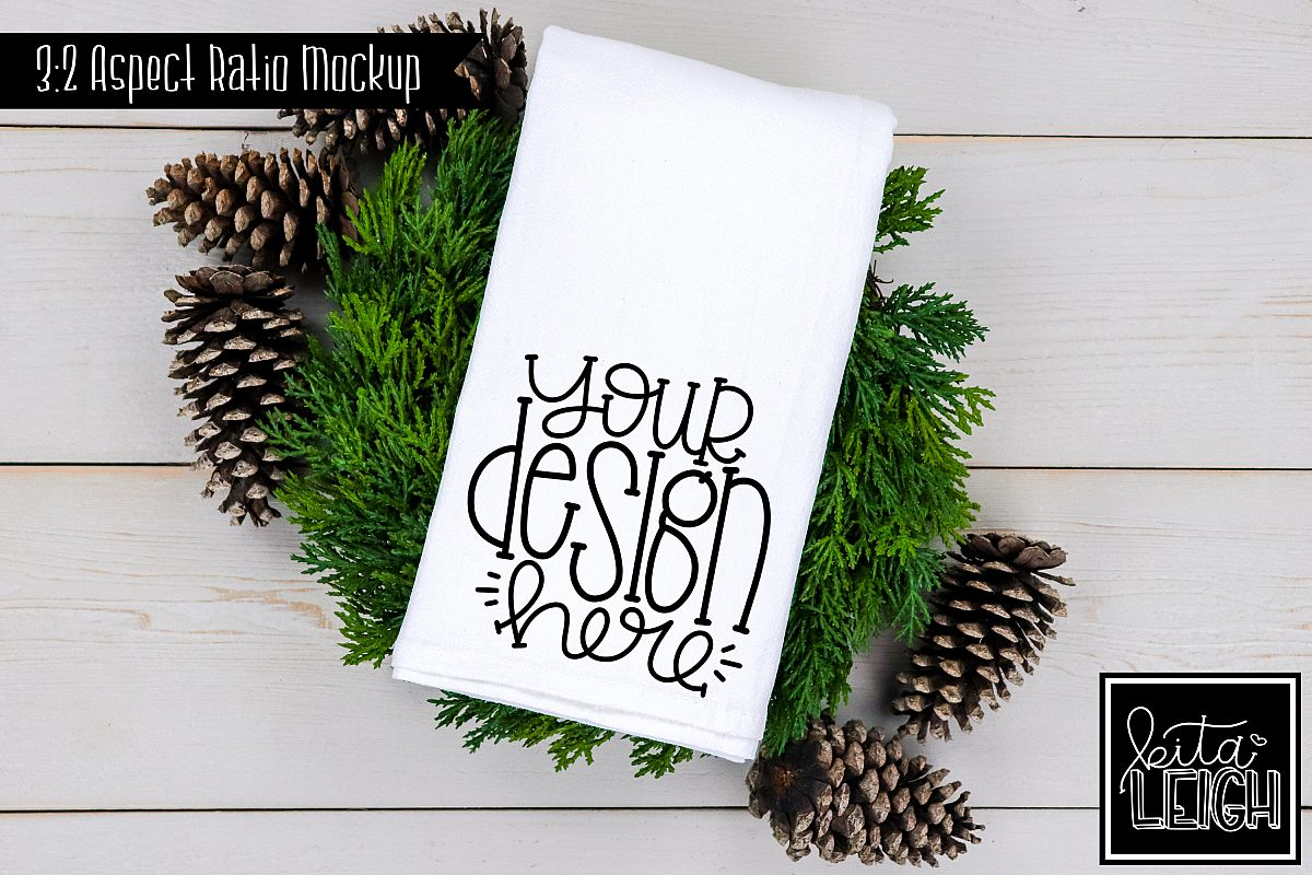 Flour Sack Tea Towel Pinecone Fall and Christmas Mockup example image 1