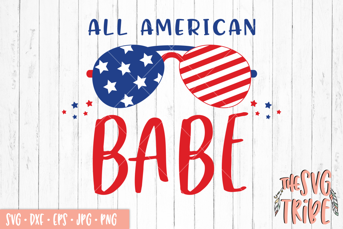 All American Babe, SVG DXF PNG EPS JPG Cutting Files example image 1